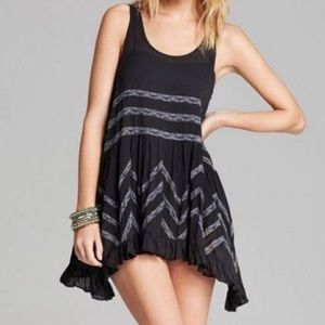 Free People Voile and Lace Trapeze Slip Tunic